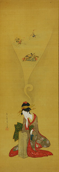 Hosoda Eishi (1756 - 1829), Young woman dreaming of The Ise Stories, early